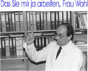 Gert Pfurtscheller in his lab advising his team to work hard